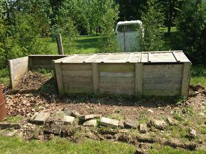 Three bin compost and brush bin