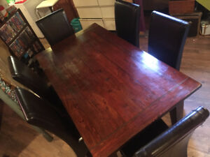 Urban Barn Dining Room Table And Leather Chairs