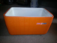 LARGE ORANGE COLEMAN CAMPING COOLER ONLY 15$ IN GOOD CONDITION!!