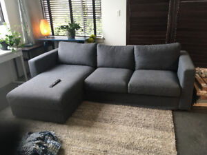 IKEA VIMLE dark grey sofa with chaise