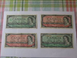 set of four 1954 Bank of Canada collector notes