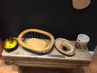 Vintage kitsch ceramic wood bowls ornaments mid century pots