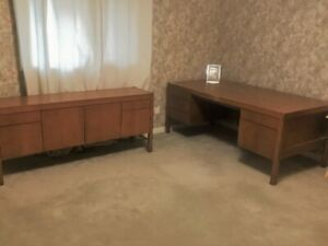 SOLID WOOD DESK AND CREDENZA - BEAUTIFUL MATCHING SET
