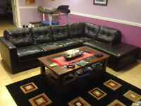 Black/Brown bonded leather sectional couch