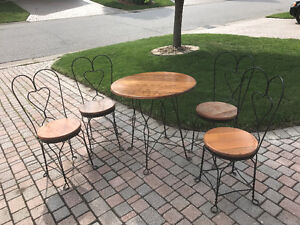 Five piece Oak and wrought iron Cafe Set