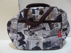 SMALL DESIGNER PURSE OR TOILETRY BAG WITH FASHION ADS THEME/MINT