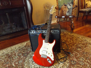 Squire Electric Guitar and a Line 6 Guitar Amp