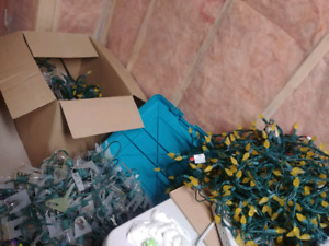 Over 500 feet of outdoor Xmas lights, tungsten and LED