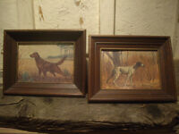 SET OF VINTAGE DOG PICTURES IN FRAME