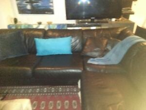 Condo sectional quality black leather