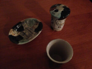 Bathroom - Ceramic - Soap Dish, Cup and Tooth  Brush Holder