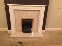 Gas fire, fire surround & marble hearth