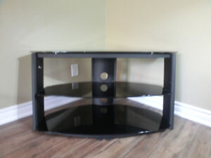 Black Smoked Tempered Glass TV Stand Asking $200.00 NOW $150.00
