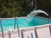 Intec above ground pool with salt water generator and pump