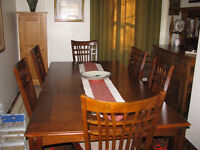 Dining room table and chairs.