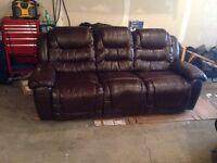 Leather reclining sofa - brown