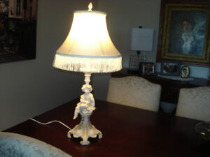 Cherub Table Lamp with lamp shade - good condition.