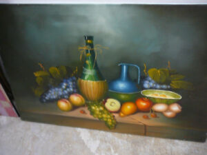 Large original oil painting, still life, wine and fruit