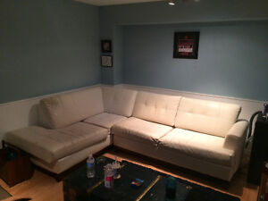 White leather sectional!! 150$