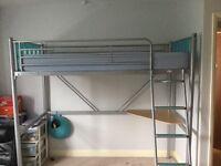 Silver metal single loft style bed frame