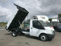 FORD TRANSIT 2.4TDCI 115BHP MWB DROP-SIDE TIPPER IN WHITE.
