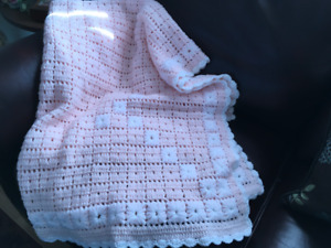 HANDCRAFTED PINK and WHITE BLANKET