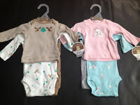 New! Carter's 3pc nb outfits.