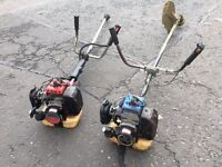 2 used Kawasaki powered strummer/brush cutters for sale . Both machines are in working order .