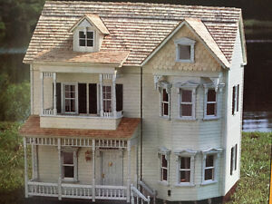 "1/2"" scale Victorian dollhouse unassembe kit and components"
