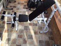 Weight bench with leg raiser