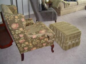 wing back chair and ottoman,like new.