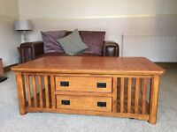 Large solid wood coffee table and side table