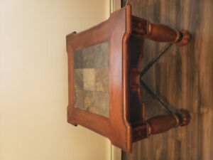 Side table with stone center