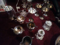 BOX OF SILVER TEA SETS AND OTHER