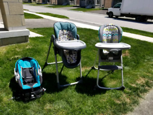 Baby car carrier and 2 highchairs