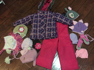 size 4 osh gosh snow suit with mittens and hats