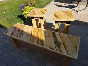 Reclaimed Wood Coffee Tabke And End Tables