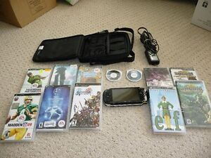 Sony PSP, with games, case, charger