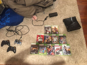 xbox 360, 3 controllers, 9 games