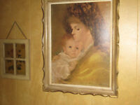 estate auction mother with child oil on canvas painting