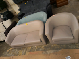 Tub chairs £45. £75. Ex display no legs. RBW Final Furniture Clearance