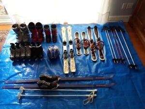 Skis, bottes, snowblade, casque, patins et bâtons