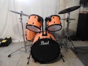 Custom Orange Carbon Fiber Design Pearl Drum Kit