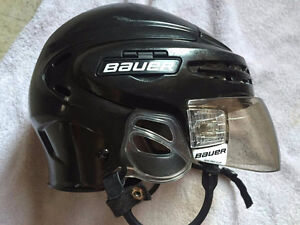 150 bauer skates and bauer helmet  with hdd pro clip visor.
