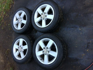 "16"" Volkswagen rims with new winter tires 5x112 offset 50"