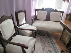 3 pc. Antique set, Settee, Chair with arms, chair without arms.