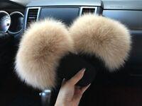 Women's Fox Fur Fluffy Sliders Slides Beige 4 5 6