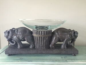 Elephant Sculpture with Glass Bowl