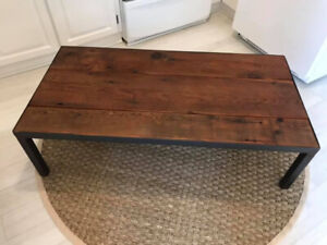 Reclaimed Barn Wood Table with Metal Frame