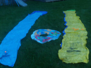 slip and slides, boat with ors, outside equipment for kids